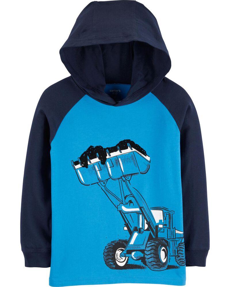 T-shirt en jersey à capuchon et camion de construction, , hi-res