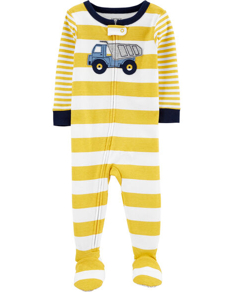 1-Piece Construction Truck Snug Fit Cotton Footie PJs