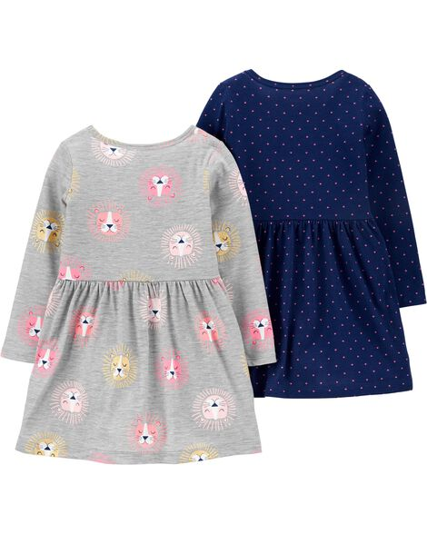 2-Pack Lions & Hearts Jersey Dresses