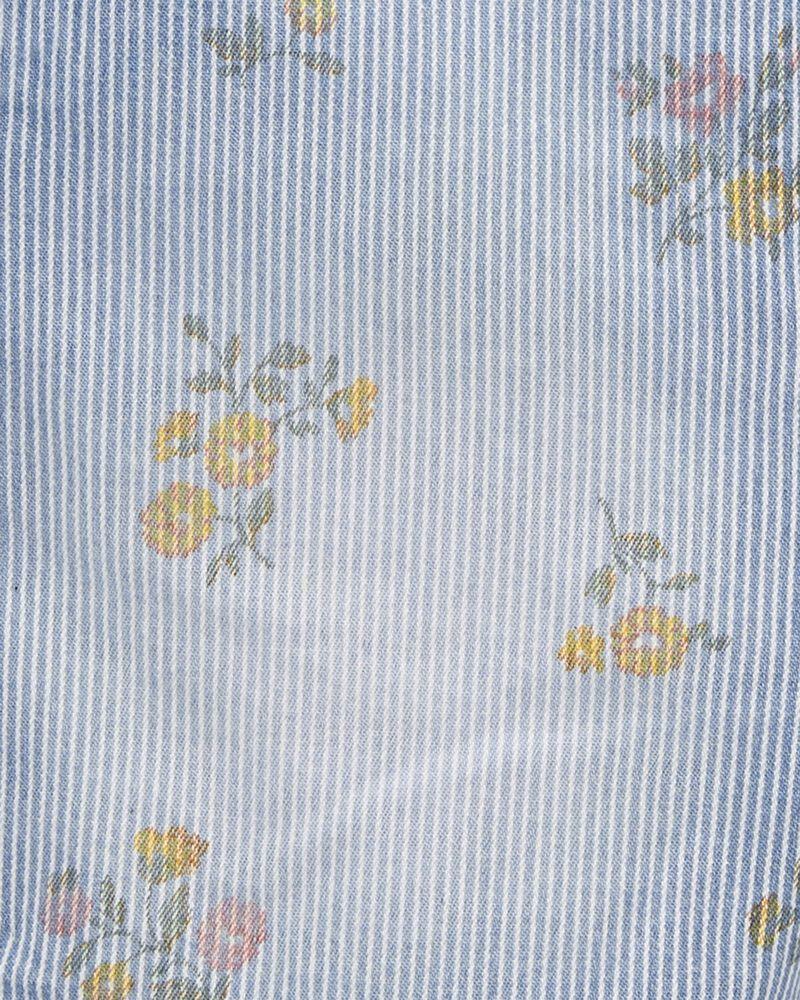 Salopette courte extensible à rayures hickory et fleurs, , hi-res