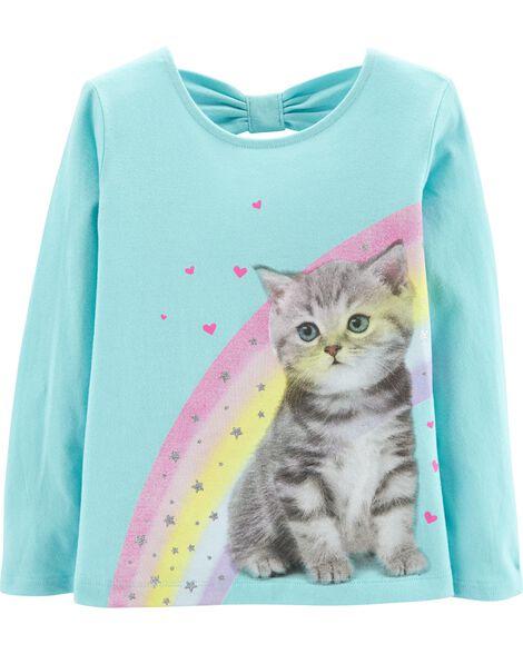 Rainbow Kitten Bow-Back Tee