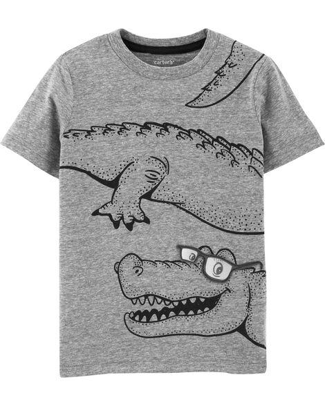 T-shirt en jersey chiné à alligator