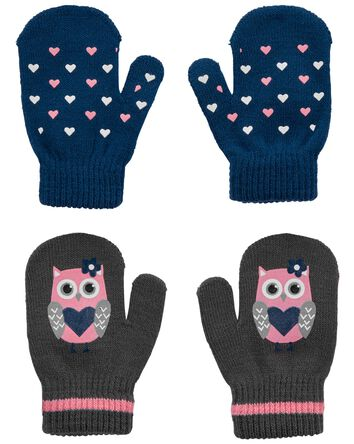 KOMBI 2-Pack Heart Owl Mini Mitt Se...