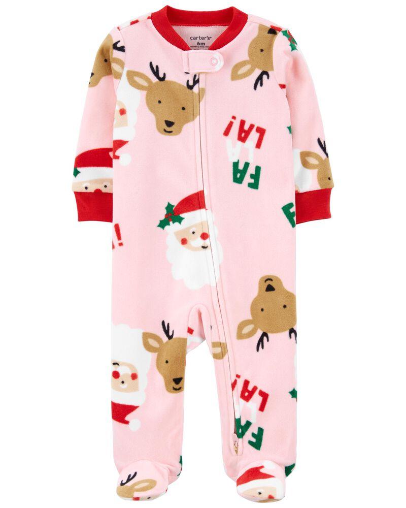 Grenouillère pour dormir et jouer en molleton avec glissière motif Père Noël, , hi-res