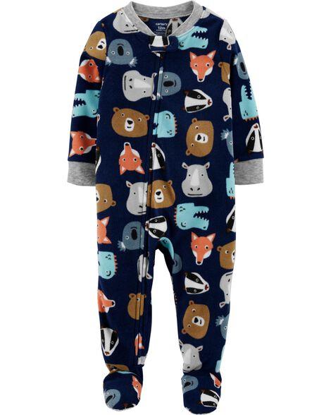 1-Piece Animal Fleece Footie PJs