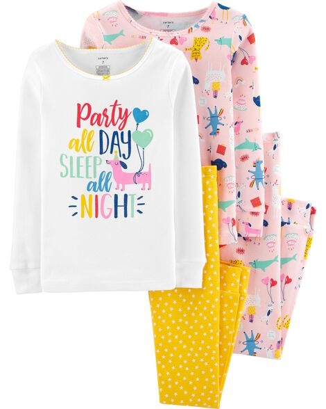 4-Piece Party Animals Snug Fit Cotton PJs