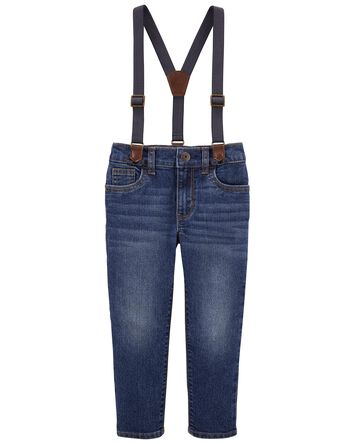 Slim Fit Knit Denim Suspender Pants