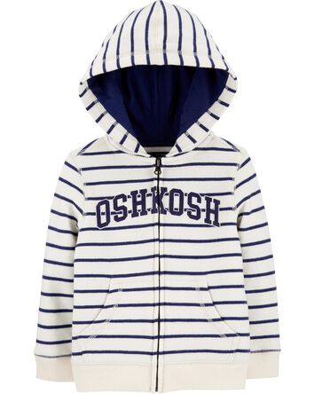 Striped Logo Fleece Hoodie