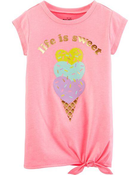 T-shirt crème glacée à nœud sur le côté