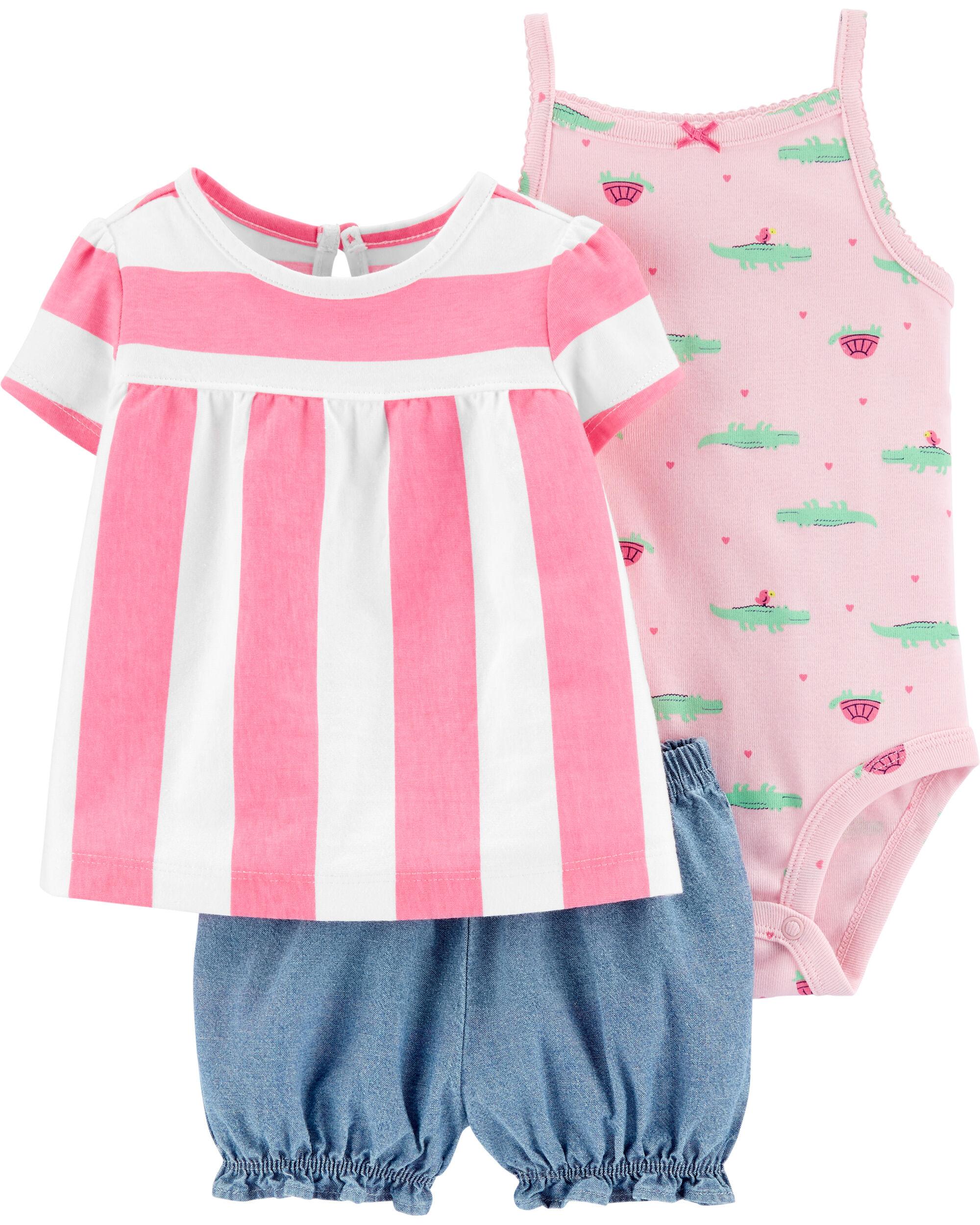 Toddler Carters Little Girls 3 Piece Striped Set