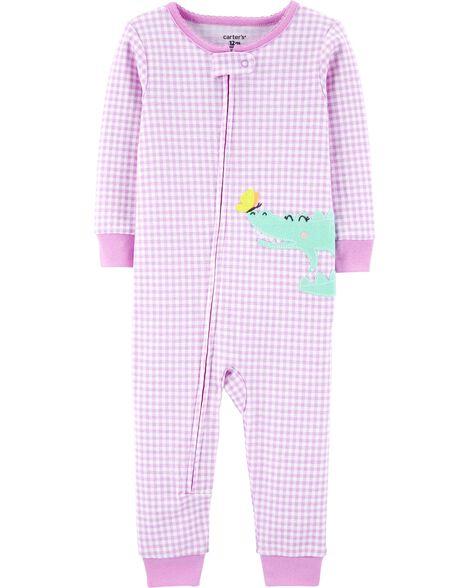 Pyjama 1 pièce sans pieds en coton ajusté à motif vichy et alligator