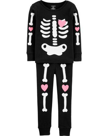 2-Piece Halloween Skeleton Snug Fit...