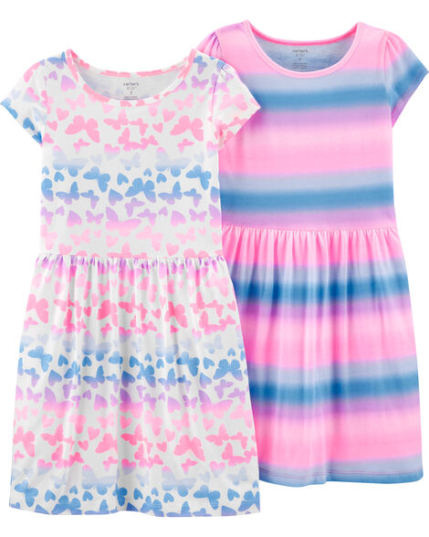 2-Pack Butterflies & Striped Jersey Dresses