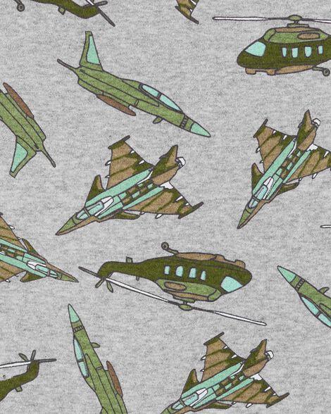 Pyjamas 4 pièces en coton ajusté avion