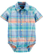 Plaid Short Sleeve Button-Front Bodysuit, , hi-res