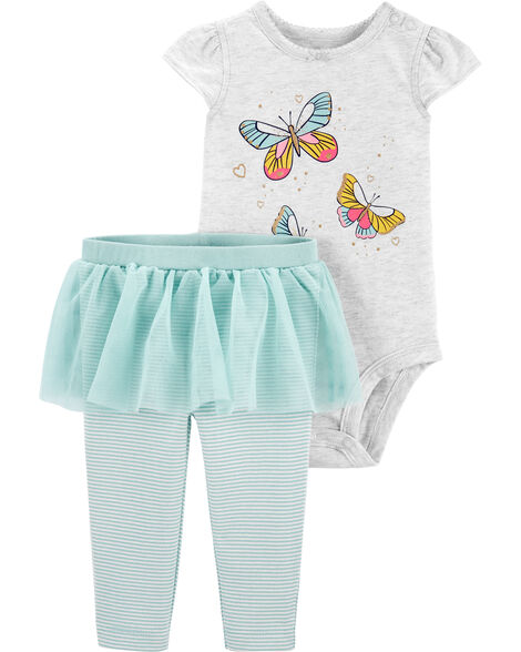 Ensemble 2 pièces cache-couche à papillon et pantalon à tutu