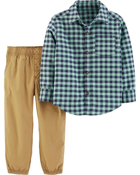 2-Piece Gingham Button-Front Top & Poplin Pant Set