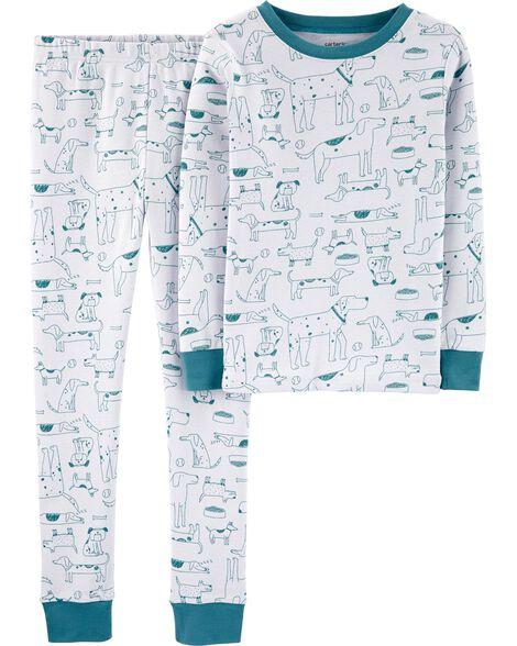 Pyjama 2 pièces en coton ajusté à chien