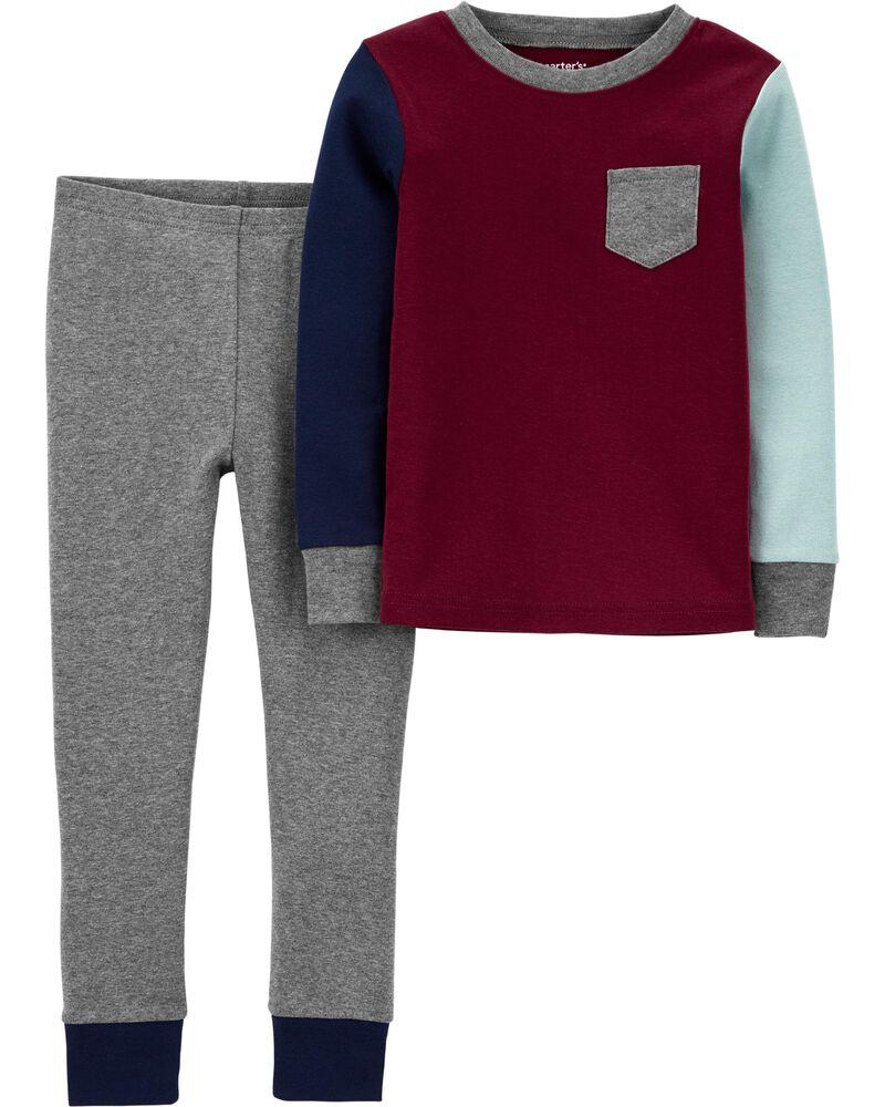 2-Piece Colourblock Snug Fit Cotton PJs, , hi-res