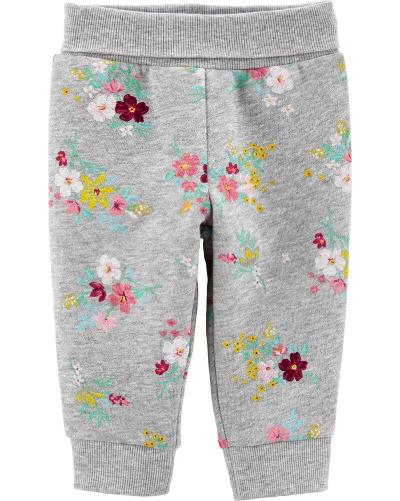 Pantalon à enfiler en molleton fleuri, , hi-res