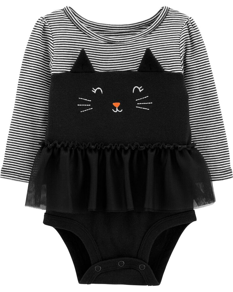 Halloween Cat Bubble Romper, , hi-res