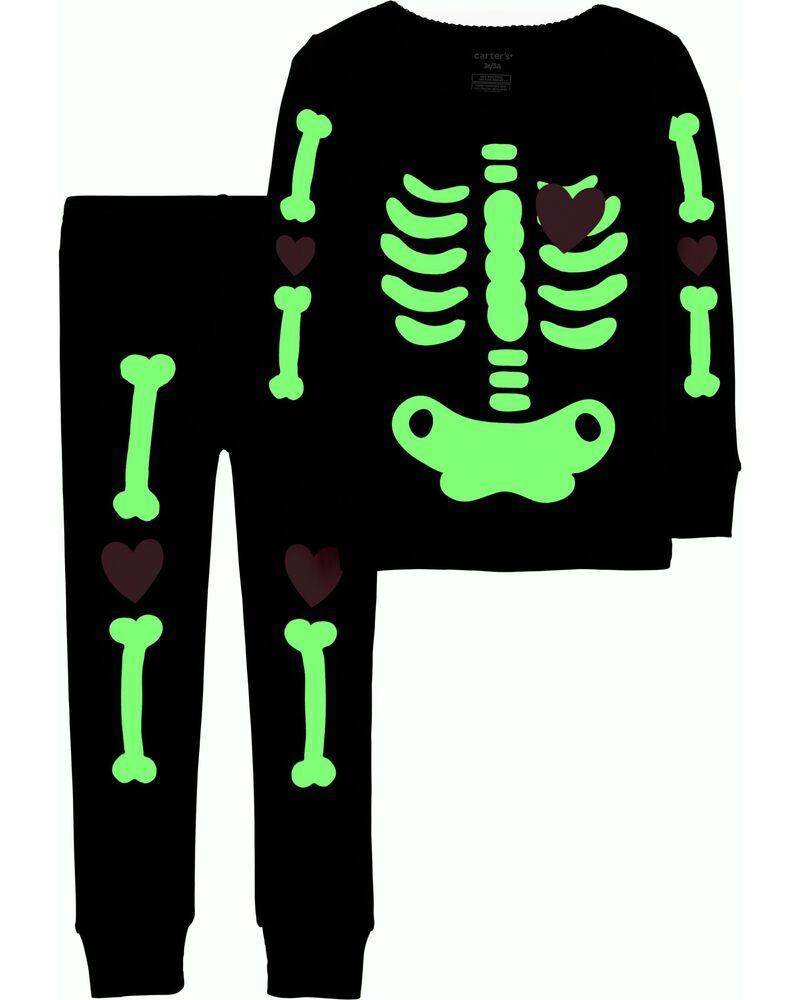 Pyjama 2 pièces à squelette d'Halloween en coton ajusté, , hi-res
