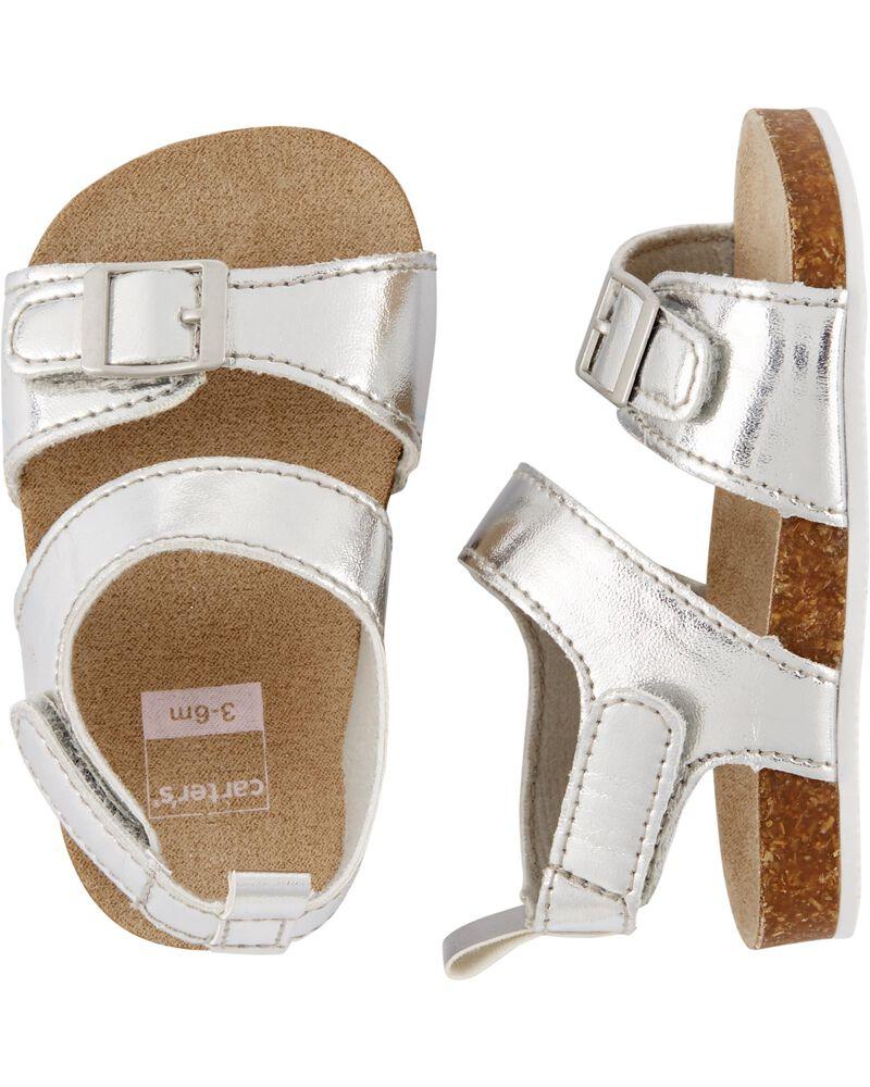 Sandales pour bébé à semelles en liège de couleur métallique , , hi-res