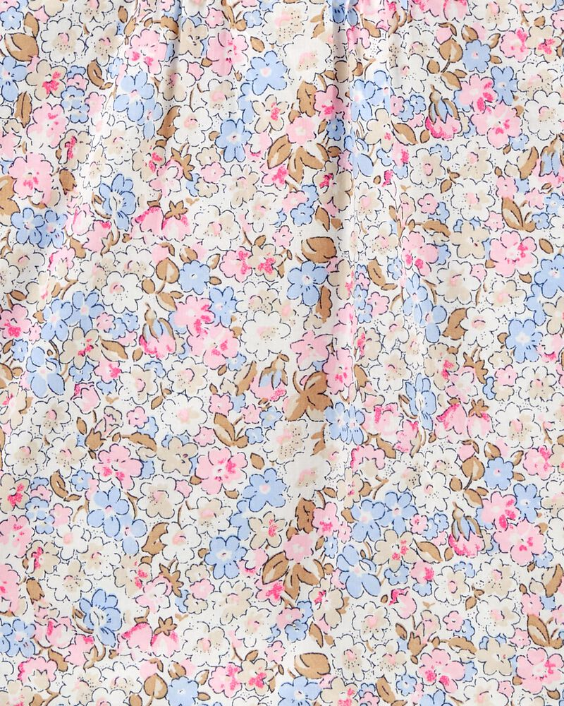 Haut en popeline à plis et fleurs, , hi-res