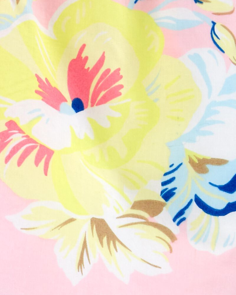 Ensemble 2 pièces haut en popeline fleuri et short rayé, , hi-res