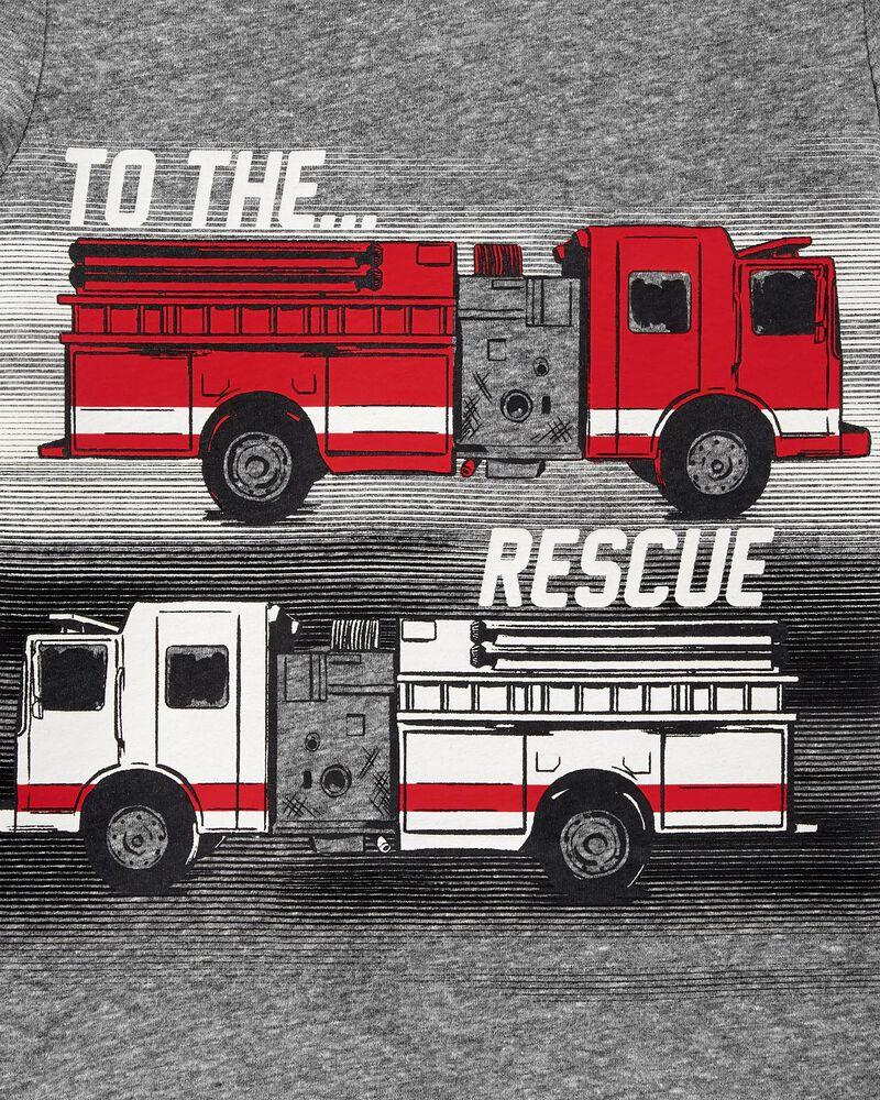 T-shirt en jersey chiné à camion d'incendie, , hi-res
