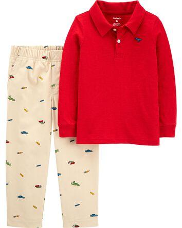 2-Piece Slub Jersey Polo & Schiffli...