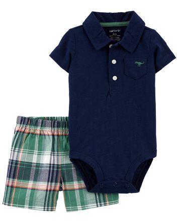 2-Piece Polo Bodysuit & Short Set