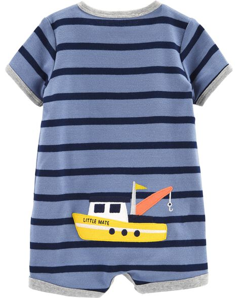 Striped Boat Snap-Up Romper