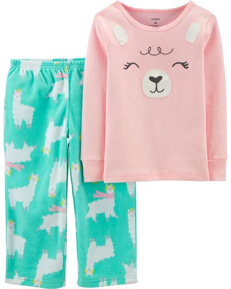 Pyjama 2 pièces en coton et molleton ajusté motif lama