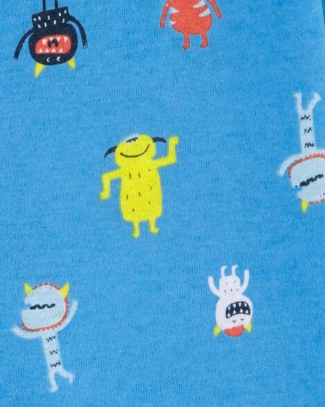 Pyjama 1 pièce à pieds en coton ajusté à motif de monstre