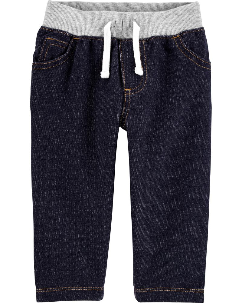 Pantalon à enfiler en tricot de denim, , hi-res