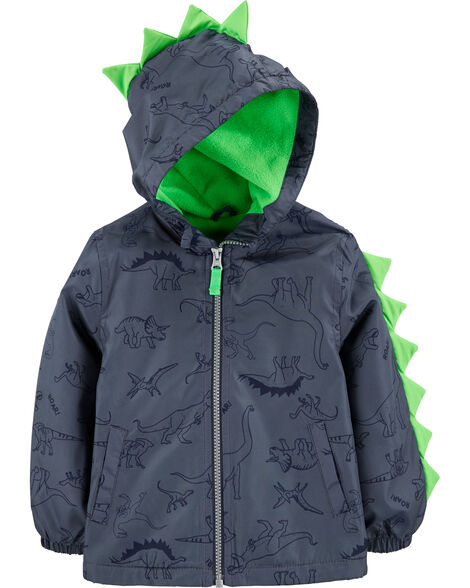 Midweight Dino Print Fleece-Lined Jacket