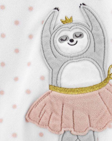 1-Piece Ballerina Sloth Fleece Footie PJs
