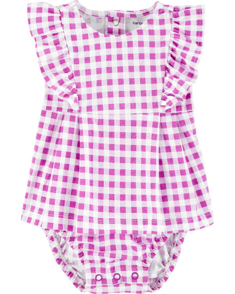 Ruffle Gingham Jersey Sunsuit