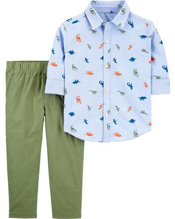 2-Piece Dinosaur Button-Front Shirt...