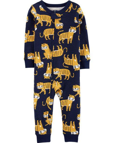 Pyjama 1 pièce sans pieds en coton ajusté à motif tigre