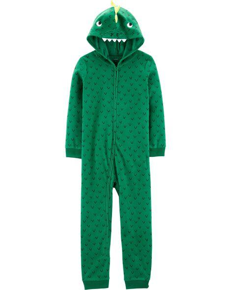Pyjama 1 pièce à capuchon en molleton sans pieds dinosaure
