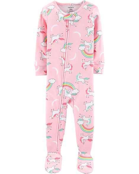 1-Piece Unicorns Snug Fit Cotton PJs