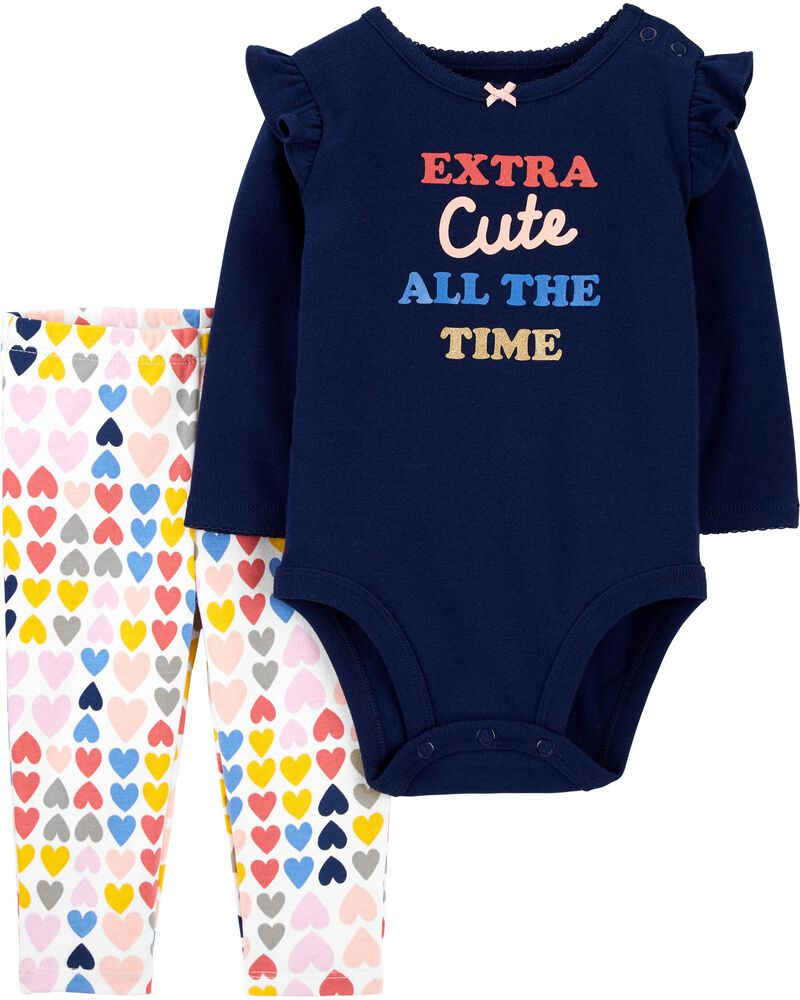 2-Piece Extra Cute Bodysuit Pant Set, , hi-res