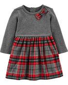 Robe à nœud et motif écossais des Fêtes, , hi-res