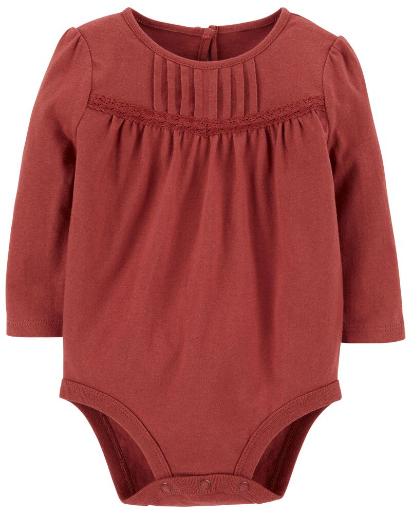 Lace Trim Pleated Bodysuit, , hi-res