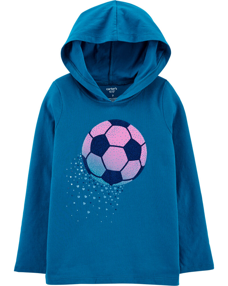 T-shirt en jersey à capuchon et ballon de soccer, , hi-res
