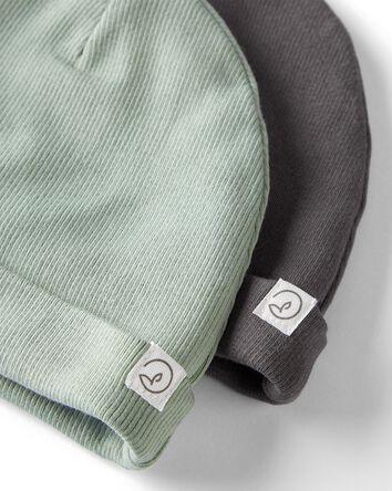 2-Pack Organic 2-Ply Cotton Rib Cap...