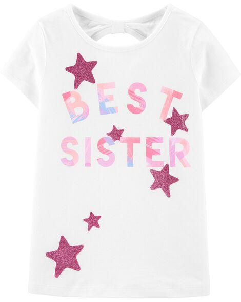 T-shirt en jersey à nœud derrière et énoncé scintillant Best Sister Star