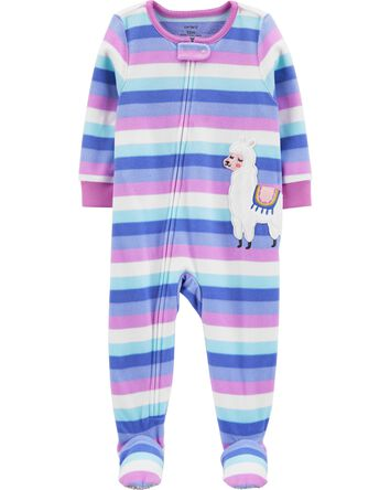 1-Piece Llama Fleece Footie PJs